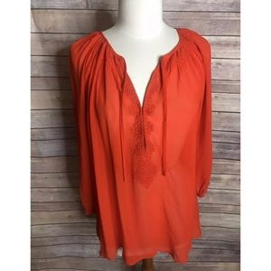 Joie Red Embroidered Silk Long Sleeve flowy Top